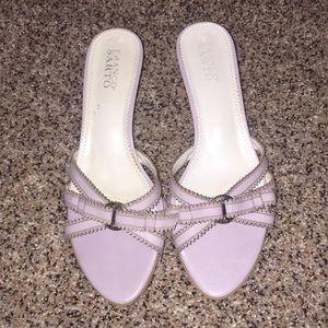 Lavender Franco Sarto kitten heels. Sandals